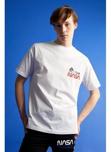 DeFacto Coool Oversize Fit NASA Lisanslı Bisiklet Yaka T-shirt Beyaz